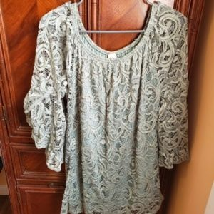 Green Lace Shoulderless Tunic